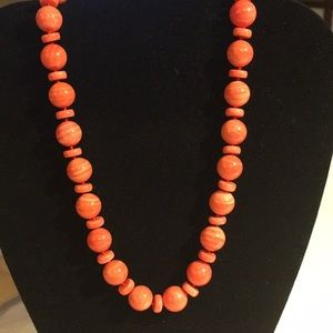 GENS EN VOGUE SALMON BAMBOO CORAL BEADED NECKLACE